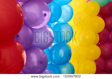 Multicolored balloons as decoration and abstract background