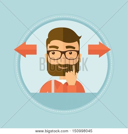 Hipster man with beard choosing career way or solution of a business problem. Young man with two arrows in different directions. Vector flat design illustration in the circle isolated on background.
