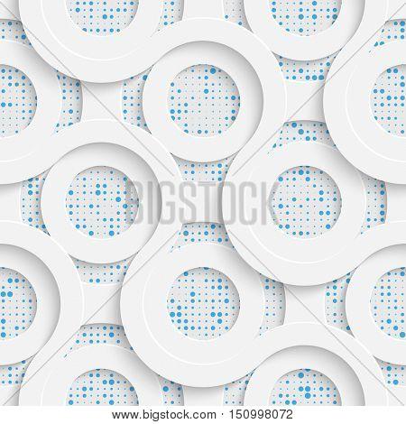 Seamless Circle Design. Futuristic Tile Pattern. 3d Elegant Minimal Geometric Background. Abstract White and Blue Grid Wallpaper