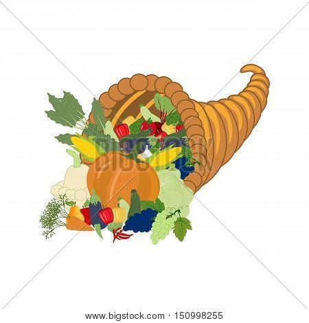 Horn of plenty harvest on the white background. Vector illustration