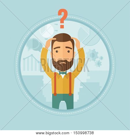 A hipster caucasian bankrupt with beard clutching his head on the background of financial charts. Concept of business bankruptcy. Vector flat design illustration in the circle isolated on background.