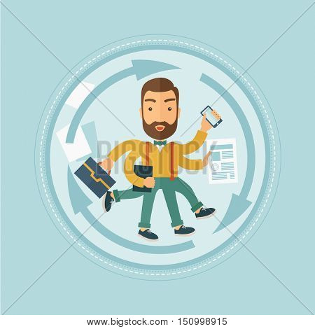 A hipster businessman with many legs and hands holding papers, briefcase, smartphone. Multitasking and productivity concept. Vector flat design illustration in the circle isolated on background.
