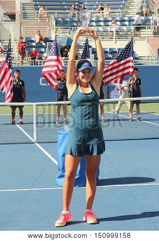 NEW YORK - SEPTEMBER 11, 2016: US Open 2016 girls junior champion Kayla Day of United States during trophy presentation at the Billie Jean King National Tennis Center in New York