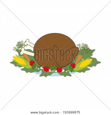 Thankgiving day turkey on the white background. Vector illustration