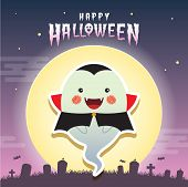 Happy halloween vector illustration. Cute ghost with vampire cosplay and cemetery. Halloween cartoon character design. poster