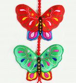 Bright fabric butterflies isolated on a white background poster