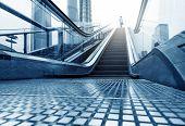 China Shanghai Lujiazui financial district escalators and walking man. poster