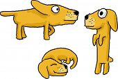 Cartoon active dog funny illustration in various poses poster