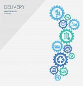Delivery mechanism concept. Abstract background with connected gears and icons for logistic, service, strategy, shipping, distribution, transport, market, communicate concepts. Vector interactive. poster