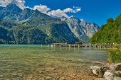 Saletalm - Final Stop of Boat Cruise on Konigsee Lake, starting point for a walk to Obersee Lake. poster
