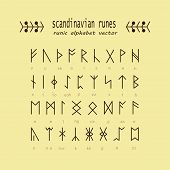 Set of Old Norse Scandinavian runes. Rune alphabet. Occult ancient symbols. Vector. poster