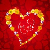 I love you. Card for Valentines day with heart from flowers poster
