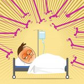 Business man is over work hard and so he admitted in hospital and recives a intravenous drip receiving a saline solution. poster