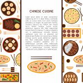 Vector illustration with cartoon cute chinese cuisine food: chicken kung pao wonton soup chow mein mantons. Traditional chinese food. Great for restaurant cafe menu. Cartoon food plate top view poster