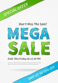 Banner Mega Sale vector illustration. Poster Mega Sale creative concept for websites retail stores advertising. Banner layout Mega Sale A4 size ready to print. poster