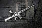 Pendant for men - Assault Rifle M16 - Stainless Steel poster