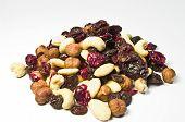 Mix of raisins, cashew-nuts, almonds and hazelnuts poster