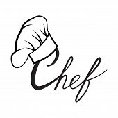 Cook hat. Drawn hat chef cook. Hat chef-cooker. Black hat chef cook on a white background poster