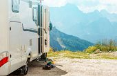 Motorhome RV Mountains Trip. Camper Camping and the Scenic Mountain View. poster