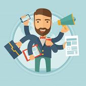 Happy hipster caucasian businessman with many hands holding papers, briefcase, mobile phone. Multitasking and productivity concept. Vector flat design illustration in the circle isolated on background poster