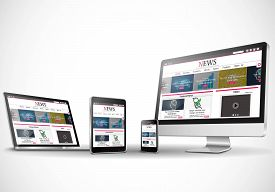 Multiple devices with business news internet web site