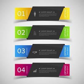 Design infographics number banners template. graphic or website layout. Vector.