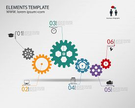 vector template Infographic with gear chain. modern abstract design.