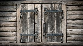 Wooden doors of a traditional hay barn - architectural background