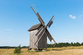 Old wooden windmill in Kukka, island of Hiiumaa, Estonia.