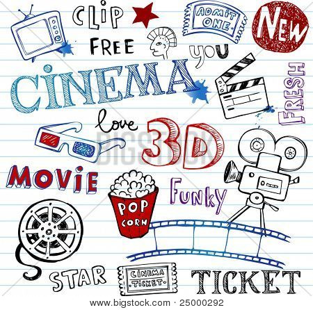 Cinema Doodles,   set of vector hand-drawn icons