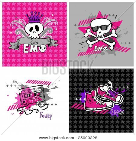 emo vector banners, suitable for t-shirt print