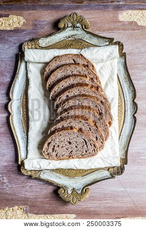 Slices Of Sourdough Bread On A Vintage Plate