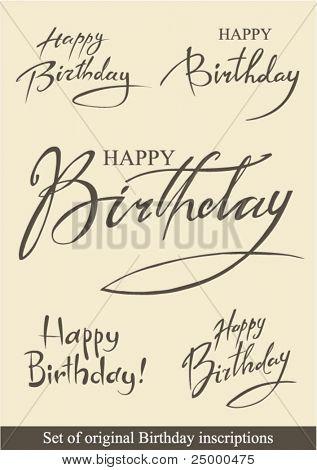 Set of original Birthday inscriptions