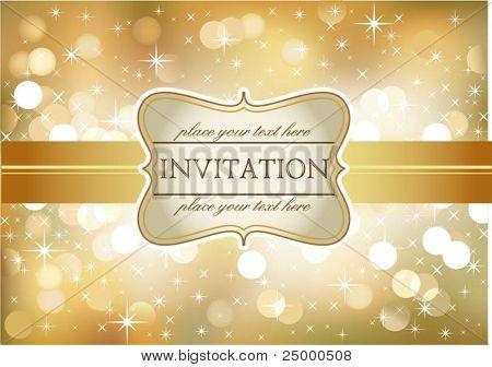 Amazing golden invitation on glittering background