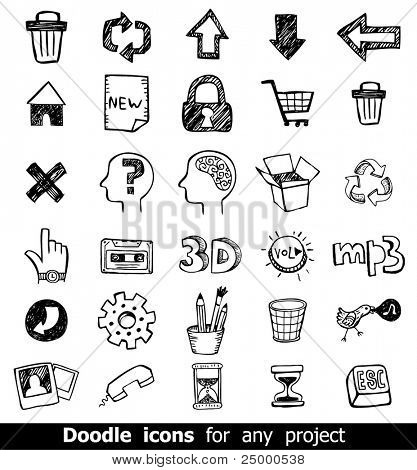 Doodled vector icons for any project.
