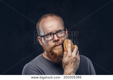 Close Up Portrait Of A Redhead Bearded Male Wearing Glasses Dressed In A Gray T-shirt, Cares About H