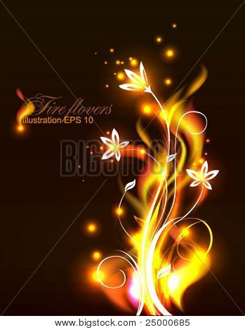 Stock Vector Illustration: Vector background, beautiful flowers as fire. eps 10