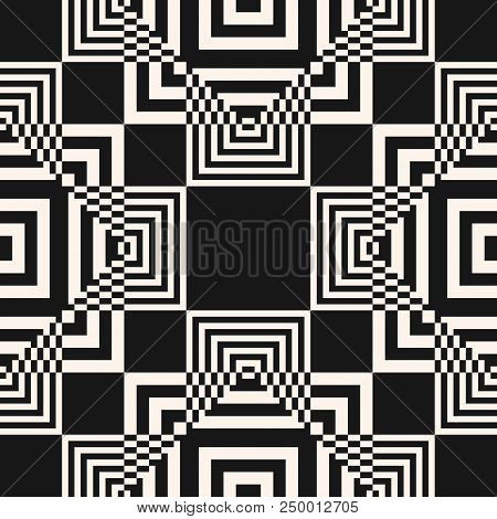 Vector Geometric Seamless Pattern With Intersecting Squares, Lines. Optical Illusion, Pixel Art. Abs