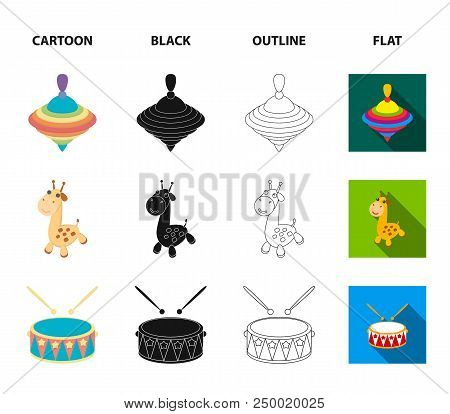 Ship, Yule, Giraffe, Drum.toys Set Collection Icons In Cartoon, Black, Outline, Flat Style Vector Sy