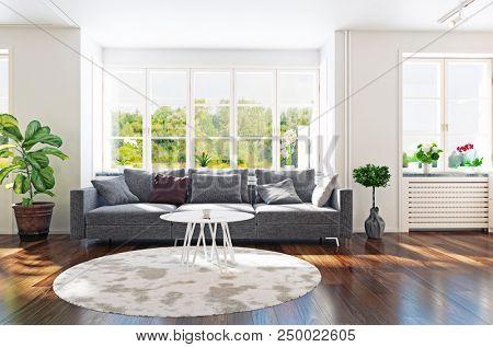 Modern living room interior 3d rendering. Contemporary design concept