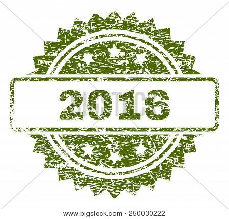 2016 Stamp Seal Watermark With Rubber Print Style. Green Vector Rubber Print Of 2016 Title With Retr