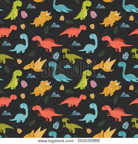 Cute Seamless Pattern With Cartoon Colorful Dinosaurs
