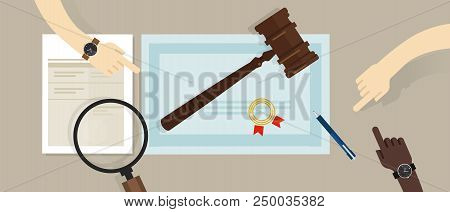 Certified Legal Auditor Lawyer Education Paper. Gavel On Paper Symbol Of Law. Vector Flat Illustrati
