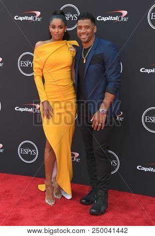 LOS ANGELES - JUL 18:  Ciara and Russell Wilson arrives to the 2018 ESPY Awards  on July 18, 2018 in Hollywood, CA