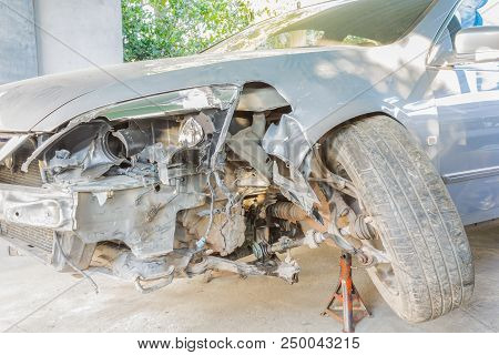 Car Or Automobile Is Crashed At Front Side Or Car Insurance Concept. Crashed Car For Car Insurance S