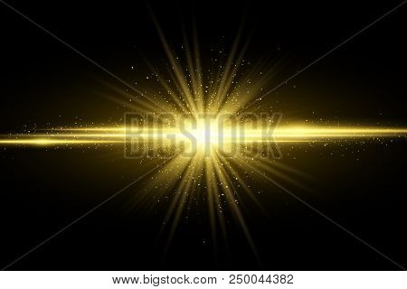 Abstract Stylish Golden Light Effect On Dark Background. Glowing Magical Star. Bright Flares. Gold R