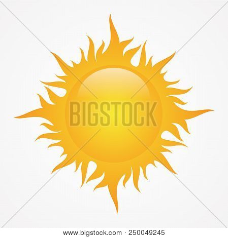 Stock Vector Simple Sun With Shining Gradation For Element Design On The White Background. Sun Weath