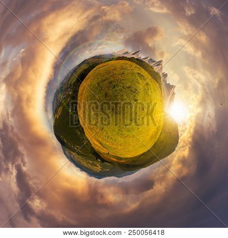 Little Mountain Planet Sunset Spherical Panorama. Lovely Countryside Concept With 360 Degree View. A