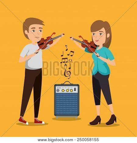 Musician Couple In Concert Vector Illustration Design