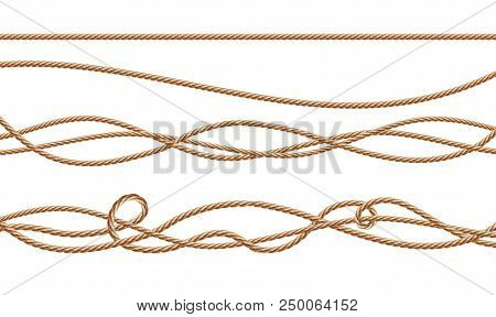 Vector 3d Realistic Fiber Ropes - Straight And Tied Up. Jute Or Hemp Twisted Cords With Loops Isolat